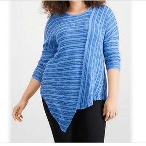 NY Collection 1X Plus Asym Slub Tunic Sweater NWT